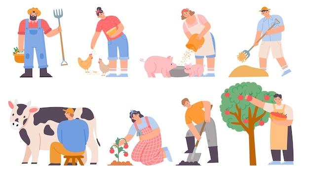 Werkende boeren. landbouwarbeider melkkoe, kippen en varkens voeren, appels oogsten en planten. cartoon boerderij vrouw en man vector set. illustratie boerenarbeider, kip en landbouw