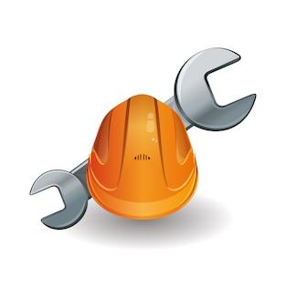 Werkende helm en moersleutelillustratie