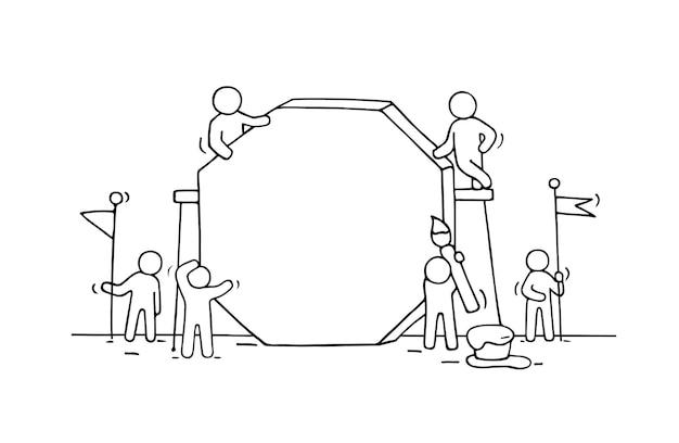 Werkende kleine mensen met een leeg bord.