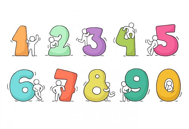 Werkende kleine mensen met getallen