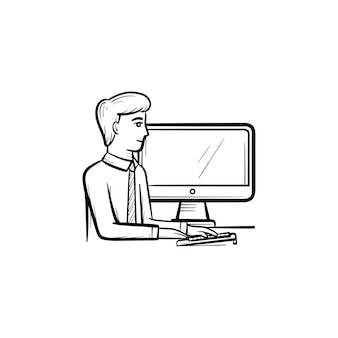 Werkende man vector hand getrokken schets doodle pictogram. werkende man zit voor computer schets illustratie voor print, web, mobiel en infographics geïsoleerd op een witte achtergrond.