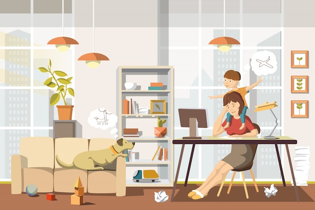 Werkende moeder concept drukke moeder met baby en hond