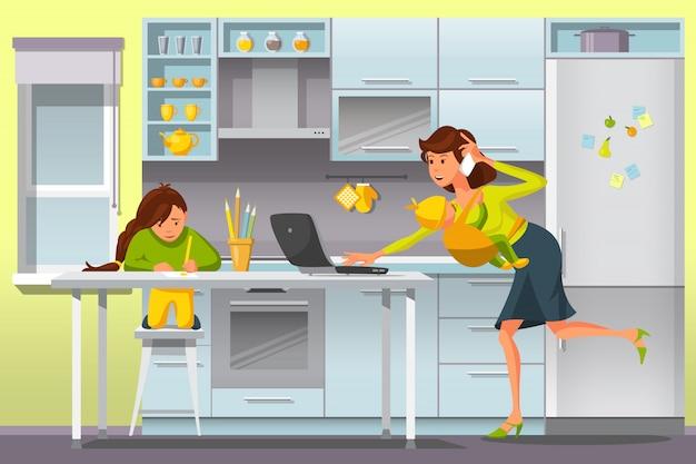 Werkende moeder concept