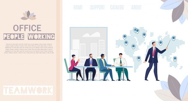 Werkende office mensen platte vector webbanner