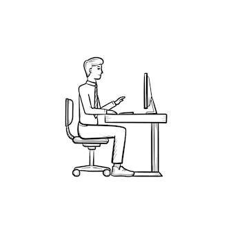 Werkende persoon hand getrokken schets doodle vector pictogram. werkplek schets illustratie voor print, web, mobiel en infographics geïsoleerd op een witte achtergrond.