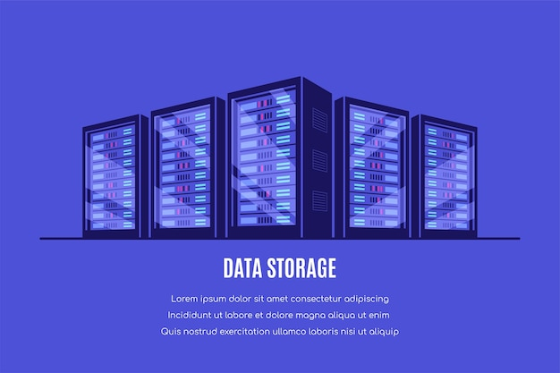 Werkende serverkasten. gegevensopslag, cloudopslag, datacenter. stijl Premium Vector