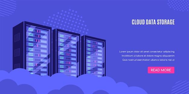 Werkende serverkasten. gegevensopslag, cloudopslag, datacenter.