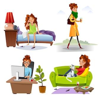 Werkende vrouw dagelijkse routine plat pictogrammen