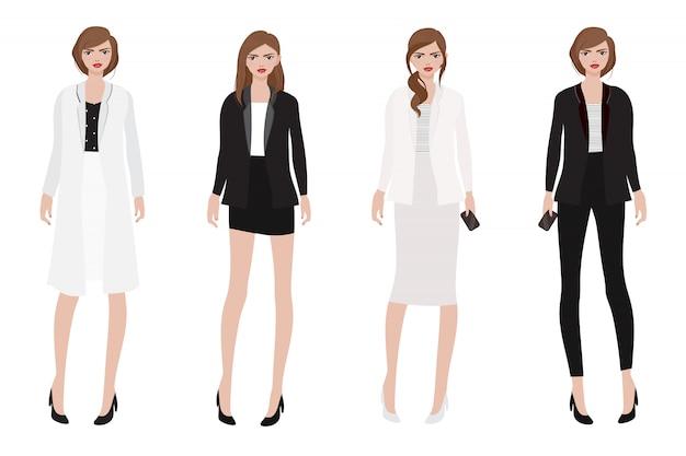 Werkende vrouw in mooie zwart-witte uitrustingsinzameling