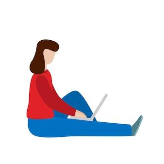 Werkende vrouw zitten met een laptop. sociaal netwerkconcept. freelance werken op afstand. platte vector concept illustratie geïsoleerd op een witte achtergrond