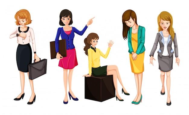Werkende vrouwen in slimme kleding