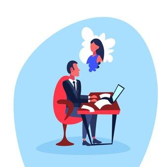 Werkende zakenman die bij een vrouw denkt