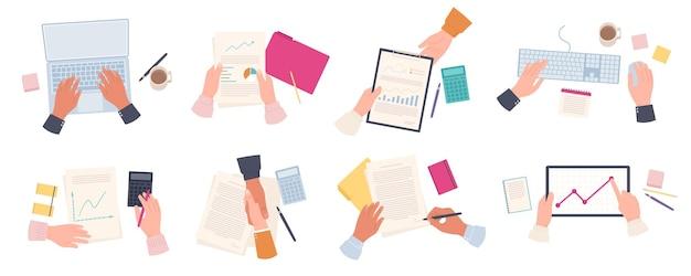 Werkende zakenman handen. man type op laptop bovenaanzicht. medewerkers maken statistisch rapport, ondertekenen document en handdruk. kantoor werk vector set. illustratie zakelijke financiën onderzoek boekhouding