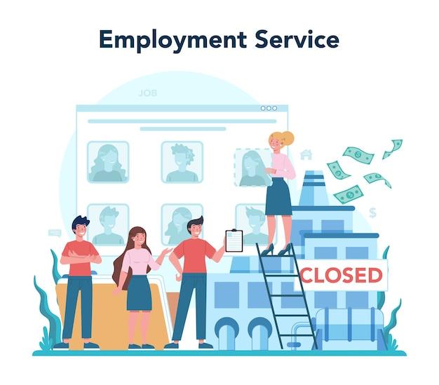 Werkgelegenheid dienstverleningsconcept. op zoek naar werk of baan. idee van werkgelegenheid.