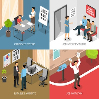 Werkgelegenheid isometrische ontwerpconcept