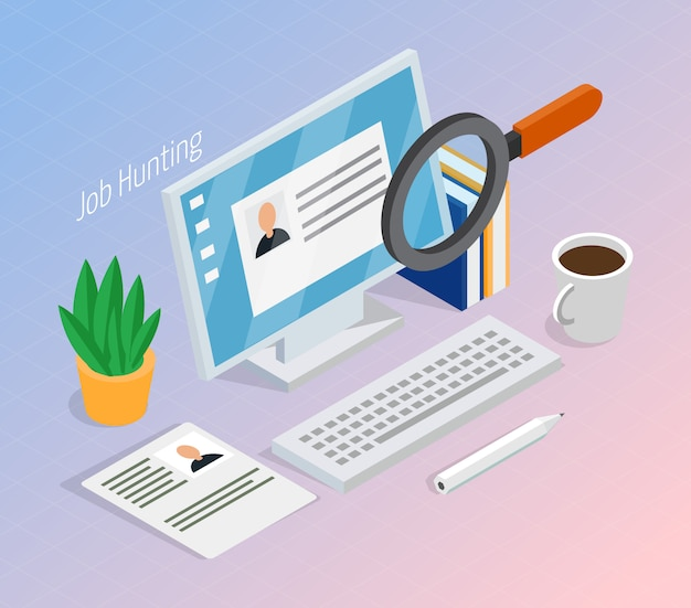 Werkgelegenheid rekrutering isometrisch