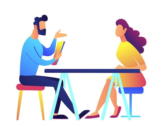 Werkgever en kandidaat bij sollicitatiegesprek vectorillustratie.