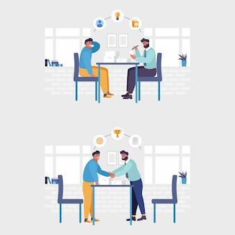 Werkgever en kandidaat die bij de illustratie van het baangesprek spreken. sollicitatiegesprek en werkgelegenheid, zakelijke bijeenkomst en werving, hr-manager en vacatureconcept. geïsoleerde illustratie.