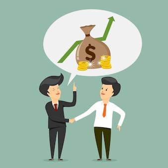 Werkgever en werknemer met muntstukken vectorillustratie