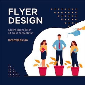 Werkgever groeiende zakelijke professionals metafoor. planten en medewerkers met de hand water geven in bloempotten. flyer-sjabloon