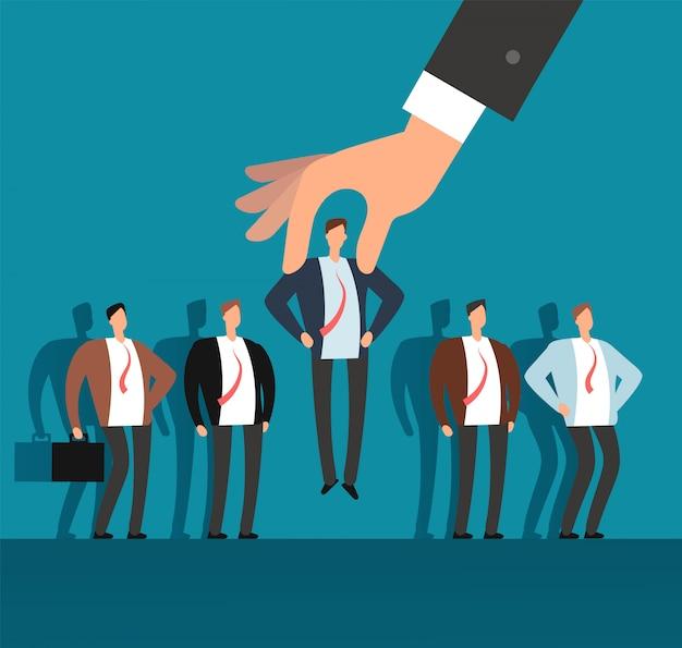 Werkgever hand kiezen man uit geselecteerde groep mensen. rekrutering vector bedrijfsconcept