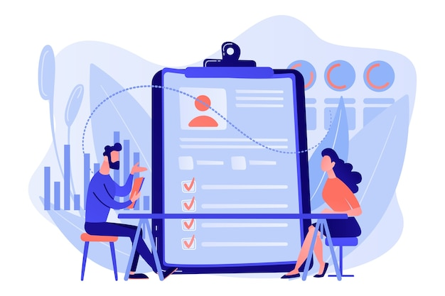 Werkgever ontmoet sollicitant bij beoordeling voorafgaand aan het dienstverband. werknemersevaluatie, beoordelingsformulier en rapport, prestatiebeoordeling concept illustratie