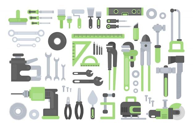 Werkinstrumenten set. liniaal en hamer, zaag en bijl.