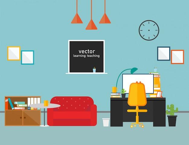 Werkkamer in privékamer werk met vectorontwerp