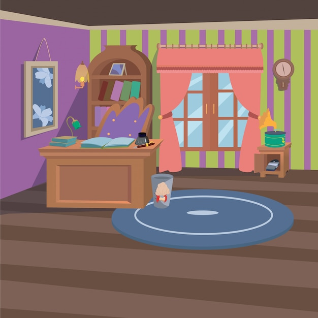 Werkkamer thuis interieur met cartoon stijl achtergrond