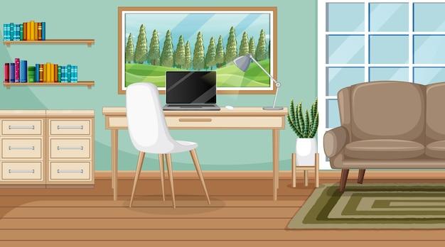 Werkkamerscène met een laptop op tafel