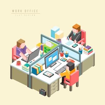 Werkkantoorconcept 3d isometrische infographic met zakenlieden