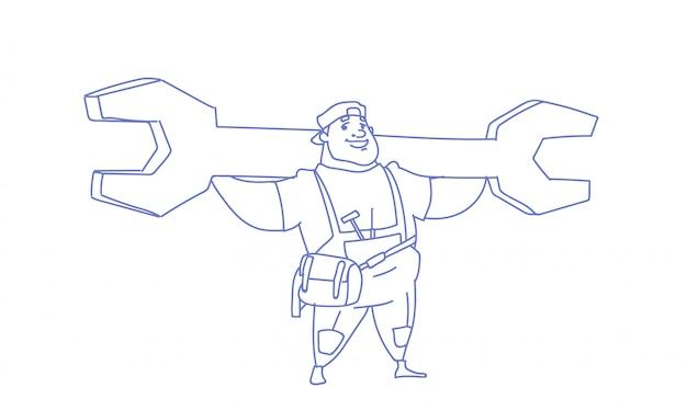 Werkman met grote moersleutel arbeid dag schets doodle
