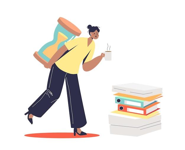 Werkneemster overladen met papierwerk en deadlines. office slavernij concept. jonge overwerkte zakenvrouw met zand horloge last.