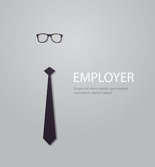 Werknemer aanwerving en personeelswerving poster met stropdas en bril nieuwe werknemer zoeken advertentie concept kopie ruimte vectorillustratie