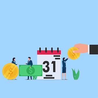 Werknemer blij met salarisbetaling aan het einde van de maand. zakelijke platte concept illustratie.
