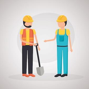 Werknemer bouwmachines