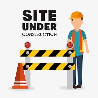 Werknemer cartoon site in aanbouw