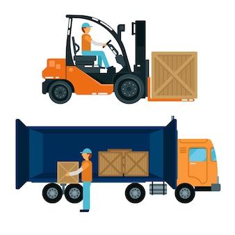 Werknemer containers in de vrachtwagen laden