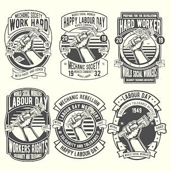 Werknemer dag van de arbeid badge set