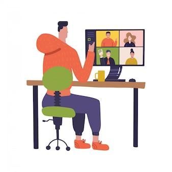 Werknemer die computer gebruikt voor collectieve virtuele vergadering en groepsvideoconferentie. man op desktop chatten online. illustratie voor videoconferentie in quarantaine, werken op afstand. plat ontwerp