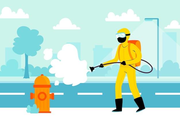 Werknemer die desinfecterende service in de openbare ruimte biedt