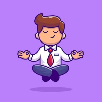Werknemer doen yoga meditatie cartoon afbeelding. mensen yoga icon concept
