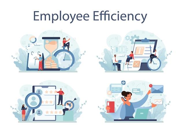 Werknemer efficiëntie concept set