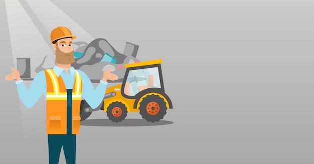 Werknemer en bulldozer op vuilnisbelt.