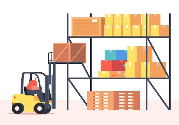 Werknemer hijs lading op vorkheftruck machine in magazijn. vrachtvervoer en logistiek. personages van werknemers in uniform en helm leveren goederen of pakketten aan het magazijn. cartoon vectorillustratie