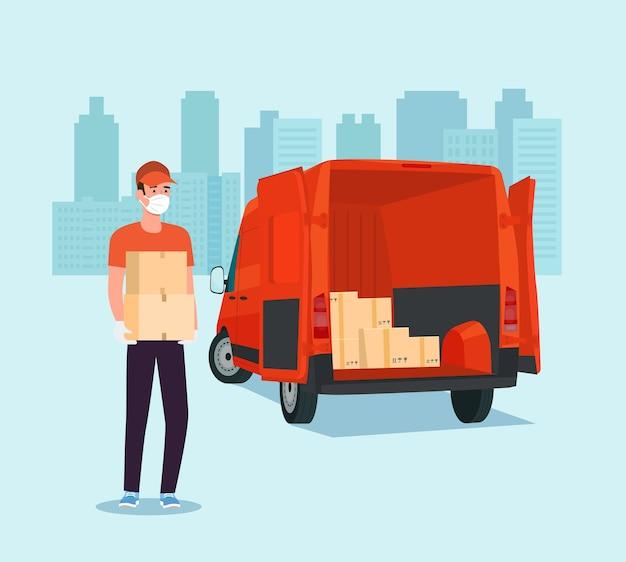 Werknemer in een medisch masker laadt dozen in een bestelwagen.