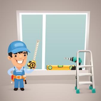 Werknemer is bezig het venster te installeren