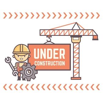 Werknemer karakter display bericht in aanbouw