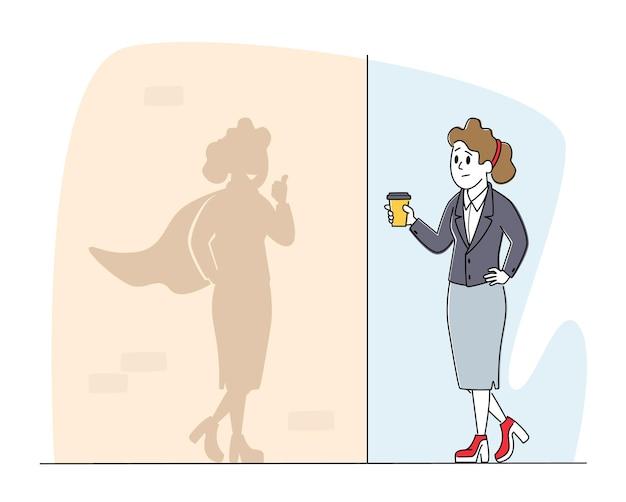 Werknemer karakter droom om rijke zakenvrouw concept te worden