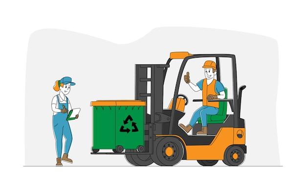 Werknemer karakter heftruck rijden met vuilnis voor afvalverwerking